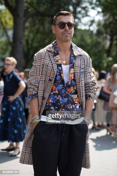 Alex Badia is seen attending Lela Rose during New York Fashion Week wearing Andrea Pompillio Philip Lim Dries van Norten Sandro on September 11 2017...