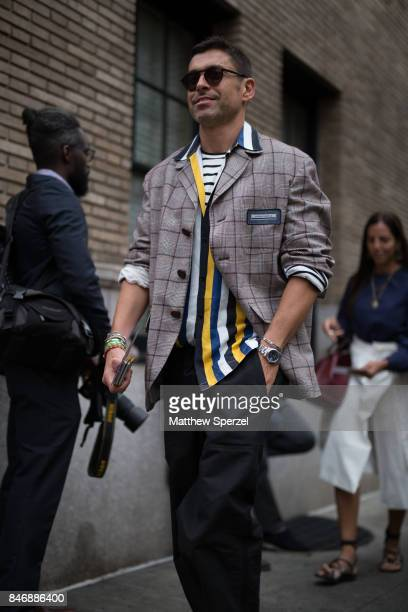 Alex Badia is seen attending Marc Jacobs during New York Fashion Week wearing Sandro Andrea Pompilio on September 13 2017 in New York City