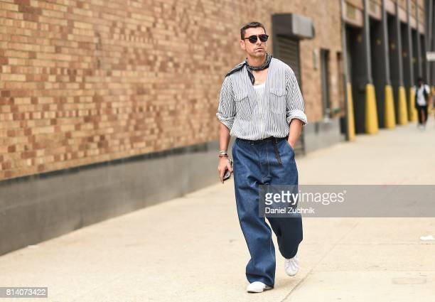 Alex Badia is seen outside the General Idea show during New York Fashion Week Men's S/S 2018 at Skylight Clarkson Sq on July 13 2017 in New York City