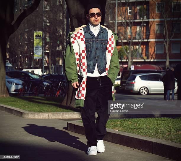 Alex Badia on the street during the Milan Men Fashion Week