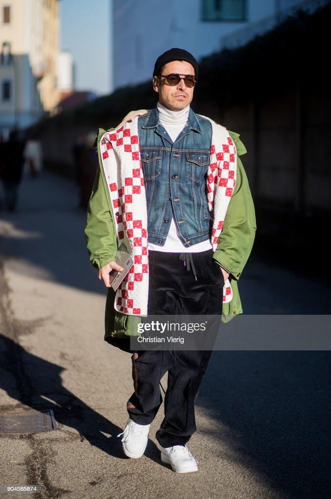 Street Style: January 13 - Milan Men's Fashion Week Fall/Winter 2018/19 : News Photo