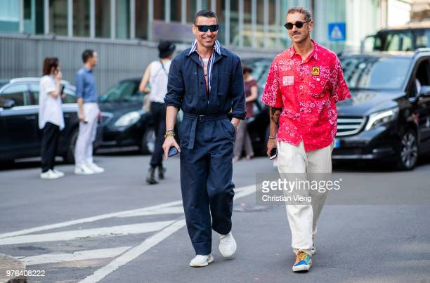 Alex Badia wearing navy overall is seen outside Marni during Milan Men's Fashion Week Spring/Summer 2019 on June 16 2018 in Milan Italy