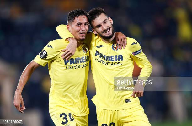 Alex Baena of Villarreal CF celebrates scoring his team's third goal with Yeremi Pino during the UEFA Europa League Group I stage match between...