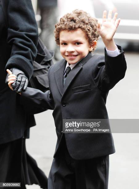 Alex Bain arrives at the memorial service for the late Maggie Jones who played legendary Coronation Street battleaxe Blanche Hunt at Salford...