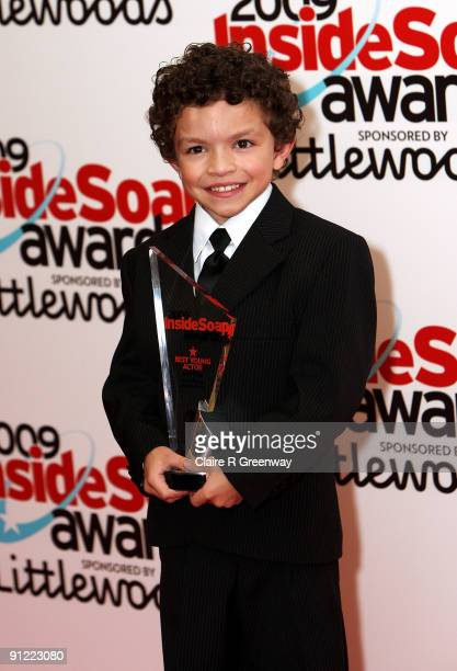 Alex Bain poses in the media room with the Best Young Actor Award at the Inside Soap Awards 2009 at Sketch on September 28 2009 in London England