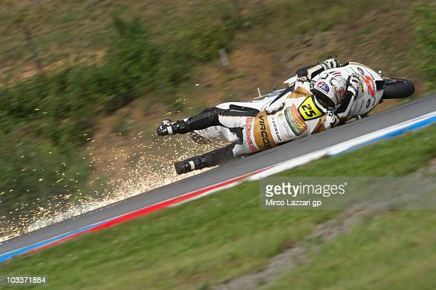 Alex Baldolini of Italy and Caretta Technology Race Dpt crashed out during the first free practice of MotoGP of Czech Republic at Brno Circuit on...