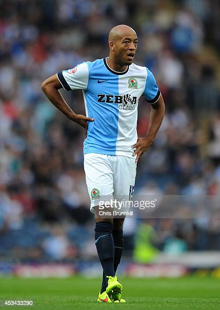 Alex Baptiste of Blackburn Rovers looks on during the Sky Bet Championship match between Blackburn Rovers and Cardiff City at Ewood Park on August 08...