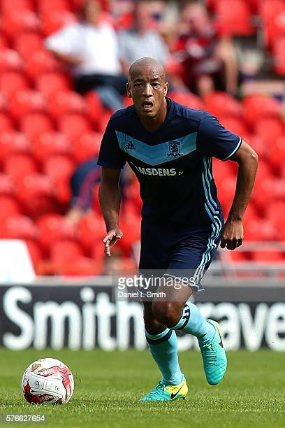 Alex Baptiste of Middlesbrough in action during the preseason friendly match between Doncaster Rovers and Middlesbrough at Keepmoat Stadium on July...