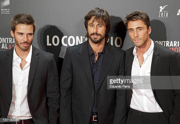 Alex Barahona Hugo Silva and Ruben Sanz attends 'Lo Contrario al Amor' premiere at Callao cinema on August 25 2011 in Madrid Spain