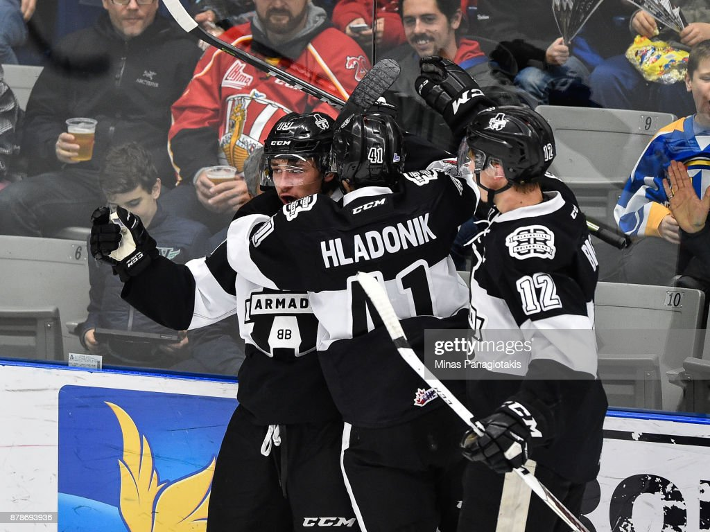 Alex Barre-Boulet #19 of the Blainville-Boisbriand Armada celebrates his second period goal with teammates Jan Hladonik #41 and Tobie Paquette-Bisson #12 against the Baie-Comeau Drakkar during the QMJHL game at Centre d'Excellence Sports Rousseau on November 24, 2017 in Boisbriand, Quebec, Canada.