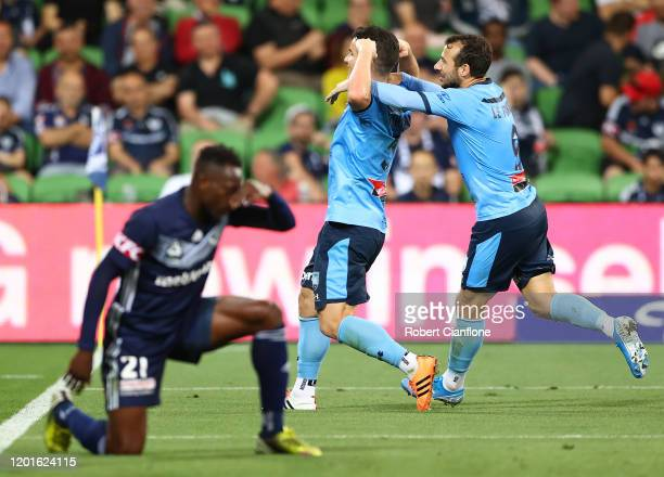 Alex Baumjohann of Sydney FC celebrates after scoring a goal during the round 16 ALeague match between the Melbourne Victory and Sydney FC at AAMI...