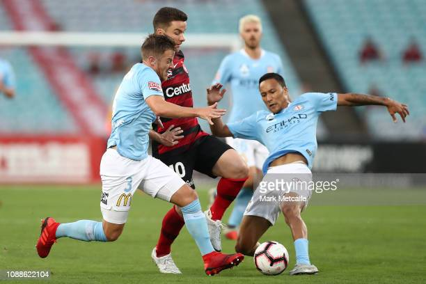 Alex Baumjohann of the Wanderers In action during the round 10 ALeague match between the Western Sydney Wanderers and Melbourne City at ANZ Stadium...