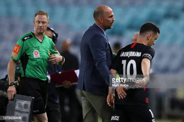 Alex Baumjohann of the Wanderers is substituted after Vedran Janjetovic of the Wanderers was given a straight red card for a hand ball during the...