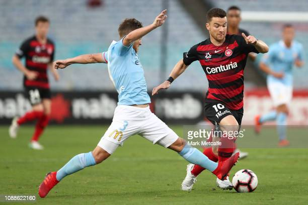 Alex Baumjohann of the Wanderers takes on Scott Jamieson of Melbourne City during the round 10 ALeague match between the Western Sydney Wanderers and...