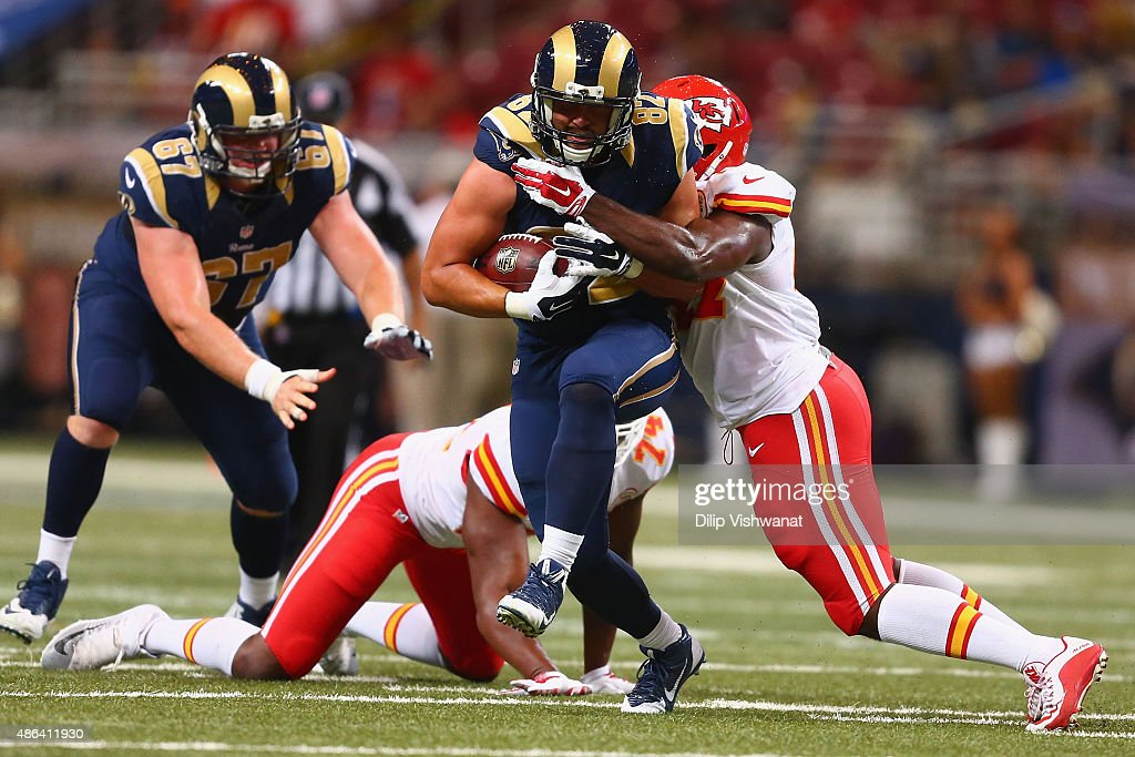 Alex Bayer #82 of the St. Louis Rams makes a catch against the Kansas City Chiefs in the fourth quarter during a pre-season game at the Edward Jones Dome on September 3, 2014 in St. Louis, Missouri.