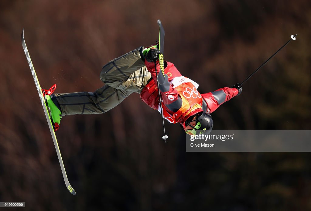 Alex Beaulieu-Marchand of Canada in action during the Freestyle Skiing Men's slopestyle Aerial final on day nine of the PyeongChang 2018 Winter Olympic Games at Phoenix Snow Park on February 18, 2018 in Pyeongchang-gun, South Korea.