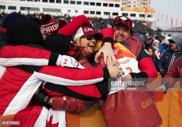 Alex BeaulieuMarchand of Canada is greeted by fans during the Freestyle Skiing Men's slopestyle final on day nine of the PyeongChang 2018 Winter...