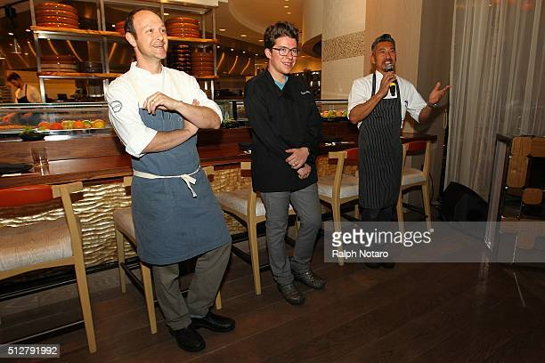 Alex Becker Justin Warner and Shuji Hiyakawa answer questions at the New Style Remix Dinner during 2016 Food Network Cooking Channel South Beach Wine...