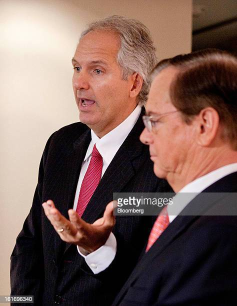 Alex Behring managing partner at 3G Capital left speaks alongside Bill Johnson chief executive officer of HJ Heinz Co during a press conference at...