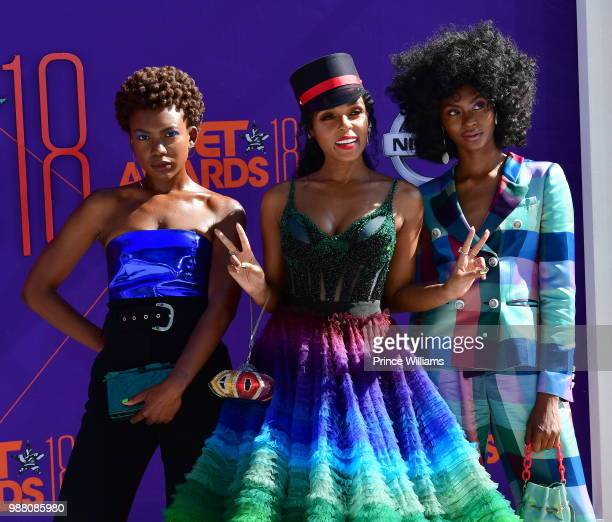 Alex Belle Janelle Monae and Isis Valentino arrive to the 2018 BET Awards held at Microsoft Theater on June 24 2018 in Los Angeles California