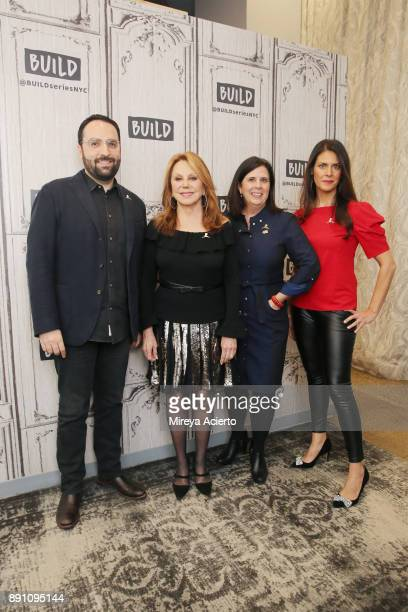 Alex Bellos Marlo Thomas Laura Bishop Jeannette Ferran Astorga visit Build to discuss St Jude at Build Studio on December 12 2017 in New York City