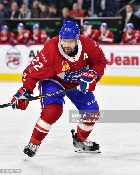 Alex Belzile of the Laval Rocket skates against the Providence Bruins during the AHL game at Place Bell on March 20 2019 in Laval Quebec Canada The...