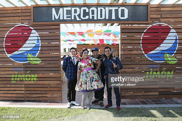 Alex Bendana Marisoul Hernandez Marco Sandoval and Andre Torres of the group La Santa Cecilia attend the Pepsi Celebrates The Launch Of Pepsi Limon...