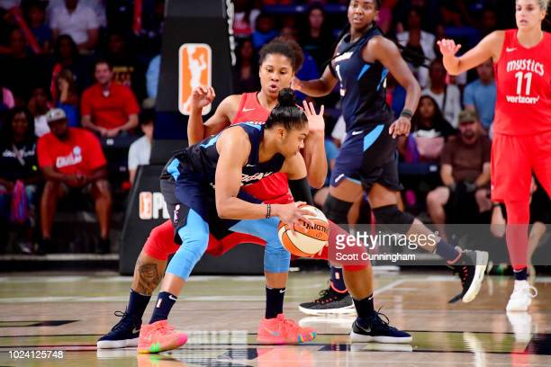 Alex Bentley of the Atlanta Dream handles the ball against the Washington Mystics during Game One of the 2018 WNBA Semifinals on August 26 2018 at...