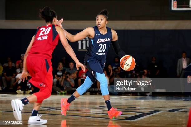 Alex Bentley of the Atlanta Dream handles the ball against the Washington Mystics during Game Three of the 2018 WNBA Semifinals on August 31 2018 at...