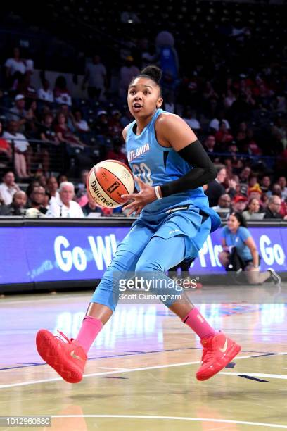 Alex Bentley of the Atlanta Dream handles the ball during the game against the Las Vegas Aces on August 07 2018 at McCamish Pavilion in Atlanta...