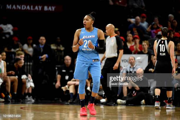 Alex Bentley of the Atlanta Dream reacts during the game against the Las Vegas Aces on August 19 2018 at the Allstate Arena in Chicago Illinois NOTE...
