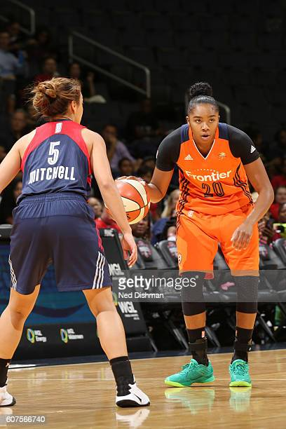 Alex Bentley of the Connecticut Sun dribbles the ball against the Washington Mystics on September 18 2016 at the Verizon Center in Washington DC NOTE...