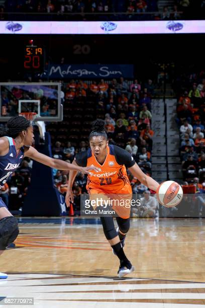 Alex Bentley of the Connecticut Sun drives to the basket against the Atlanta Dream on May 13 2017 at Mohegan Sun Arena in Uncasville Connecticut NOTE...