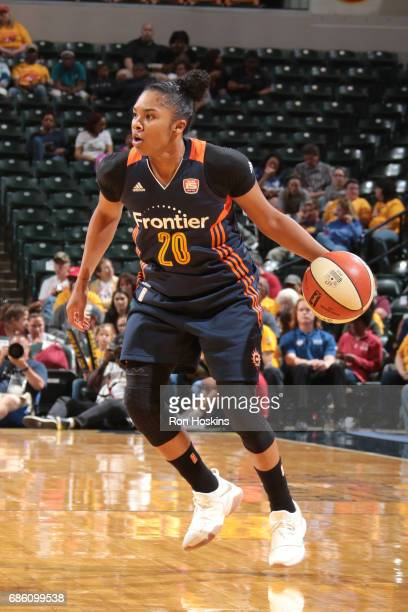 Alex Bentley of the Connecticut Sun drives to the basket against the Indiana Fever on May 20 2017 at Bankers Life Fieldhouse in Indianapolis Indiana...