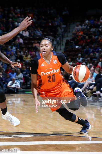 Alex Bentley of the Connecticut Sun drives to the basket during the game against the Minnesota Lynx during a WNBA game on May 26 2017 at the Mohegan...