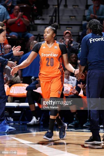 Alex Bentley of the Connecticut Sun gets introduced in the starting line up before the game against the Minnesota Lynx during a WNBA game on May 26...