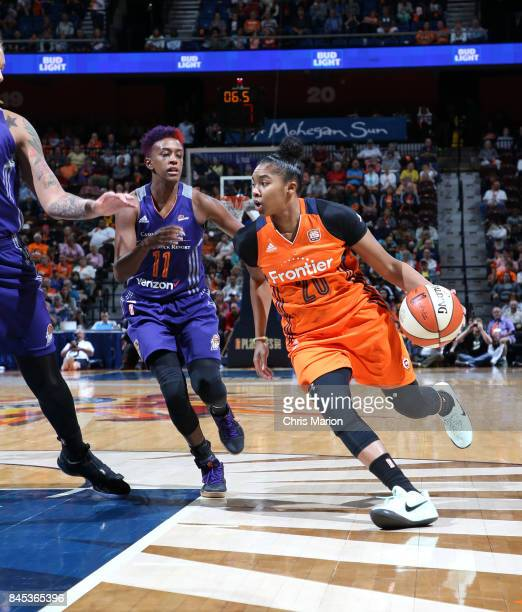 Alex Bentley of the Connecticut Sun handles the ball against the Phoenix Mercury in Round Two of the 2017 WNBA Playoffs on September 10 2017 at...