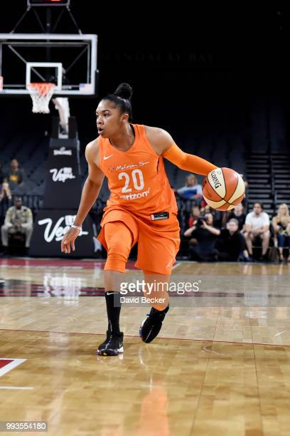 Alex Bentley of the Connecticut Sun handles the ball against the Las Vegas Aces on July 7 2018 at the Mandalay Bay Events Center in Las Vegas Nevada...