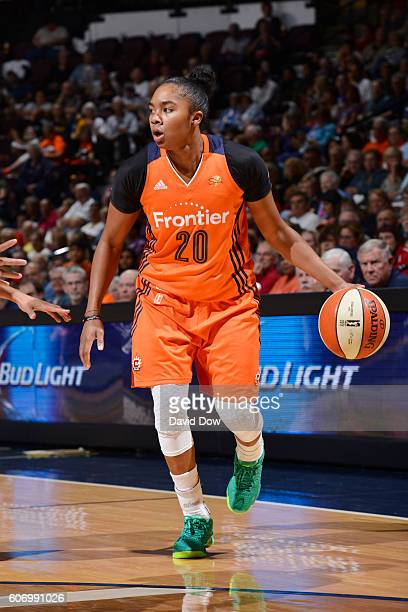 Alex Bentley of the Connecticut Sun handles the ball against the Dallas Wings on September 16 2016 at the Mohegan Sun Arena in Uncasville Connecticut...