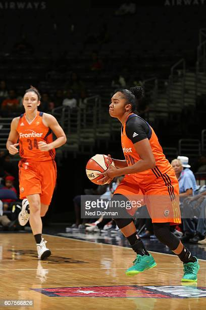 Alex Bentley of the Connecticut Sun handles the ball against the Washington Mystics on September 18 2016 at the Verizon Center in Washington DC NOTE...