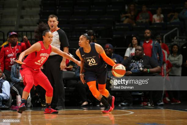 Alex Bentley of the Connecticut Sun handles the ball against the Washington Mystics on June 3 2018 at the Capital One Arena in Washington DC NOTE TO...