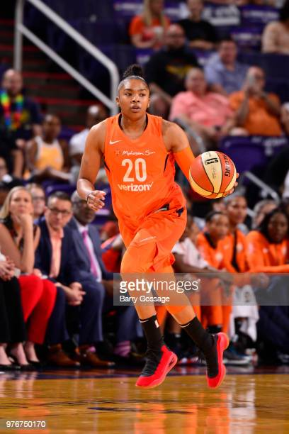 Alex Bentley of the Connecticut Sun handles the ball against the Phoenix Mercury on June 16 2018 at Talking Stick Resort Arena in Phoenix Arizona...