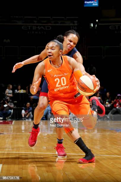 Alex Bentley of the Connecticut Sun handles the ball against the Washington Mystics on June 26 2018 at Capital One Arena in Washington DC NOTE TO...