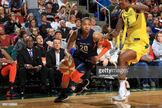 Alex Bentley of the Connecticut Sun handles the ball against the Seattle Storm on July 1 2018 at Key Arena in Seattle Washington NOTE TO USER User...