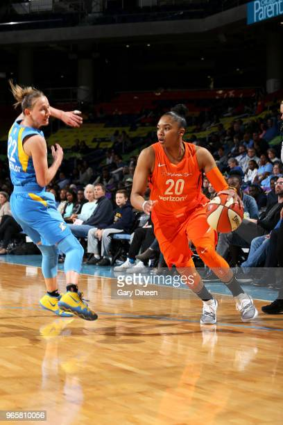 Alex Bentley of the Connecticut Sun handles the ball against the Chicago Sky on June 1 2018 at the Wintrust Arena in Chicago Illinois NOTE TO USER...