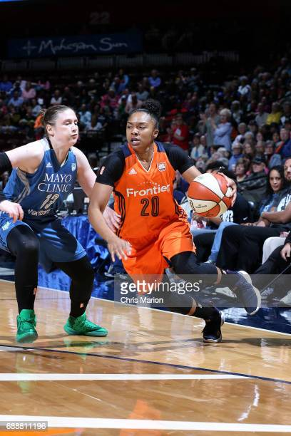 Alex Bentley of the Connecticut Sun handles the ball during the game against the Minnesota Lynx during a WNBA game on May 26 2017 at the Mohegan Sun...