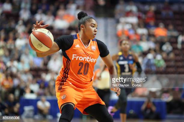 Alex Bentley of the Connecticut Sun in action during the Connecticut Sun Vs Indiana Fever WNBA regular season game at Mohegan Sun Arena on July 30...
