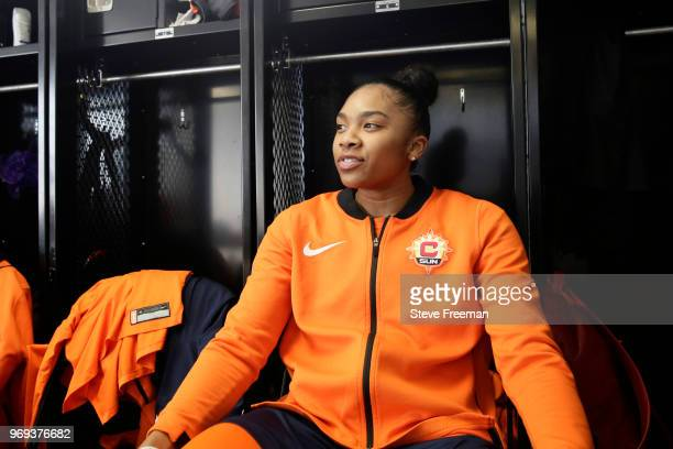 Alex Bentley of the Connecticut Sun looks on before the game against the New York Liberty on June 7 2018 at Westchester County Center in White Plains...
