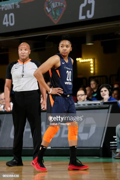 Alex Bentley of the Connecticut Sun looks on during the game against the New York Liberty on June 7 2018 at Westchester County Center in White Plains...