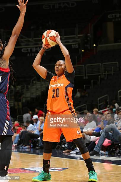 Alex Bentley of the Connecticut Sun passes the ball against the Washington Mystics on September 18 2016 at the Verizon Center in Washington DC NOTE...